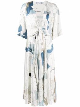 Off-White платье миди с графичным принтом OWDB219S20FAB0020106