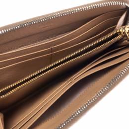 Prada Beige Saffiano Lux Leather Zip Around Wallet 300497