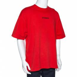 Vetements Orange Cotton Logo Print Oversized T Shirt M 301202