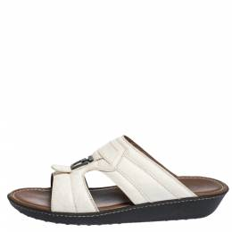 Tod's White Leather And Ostrich Embossed Trim Platform Slide Sandals Size 44.5 Tod's 300075