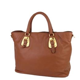 Prada Brown Leather Satchel Bag 298724