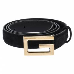 Gucci Black Suede and Leather G Buckle Belt 90CM 300482