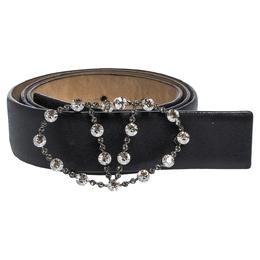 Valentino Black Leather Crystal Embellished V Logo Belt 80CM 300481