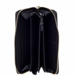 Gucci Black Leather Soho Zip Around Wallet 300488