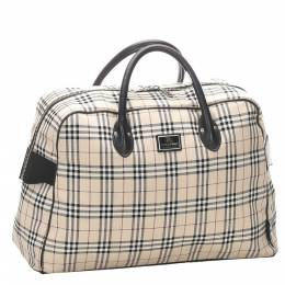 Burberry Brown/Beige House Check Canvas Travel Bag 298736