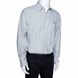 Ralph Lauren Black & White Window Pane Checked Cotton Shirt L 300290
