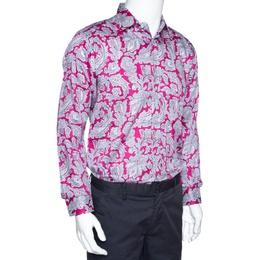 Etro Dark Pink Paisley Print Cotton Long Sleeve Shirt L 299774