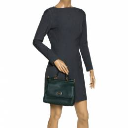 Dolce&Gabbana Green Leather Medium Miss Sicily Top Handle Bag 300281