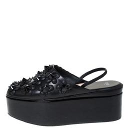 Fendi Black Leather And Patent FlowerLand Flat Platform Slingback Sandals Size 37 299766