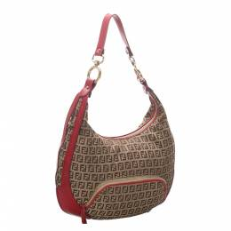 Fendi Beige/Red Zucchino Canvas Chef Hobo Bag 298778