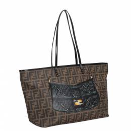 Fendi Brown Zucca Canvas Leather Roll Tote Bag 298776