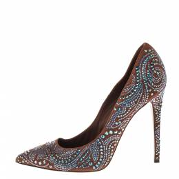 Le Silla Brown Crystal Embellished Suede Leather Pointed Toe Pumps Size 38 300362