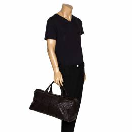 Bottega Veneta Dark Brown Intrecciato Leather VN Duffle Bag 300138