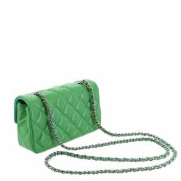 Chanel Green Patent Leather Classic Mini Single Flap Bag 298886
