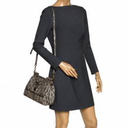 Dolce&Gabbana Black/Ivory Lace Print Leather Medium Miss Sicily Top Handle Bag 300344