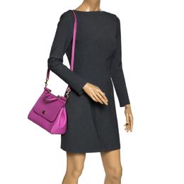 Dolce&Gabbana Pink Leather Medium Miss Sicily Top Handle Bag 300346