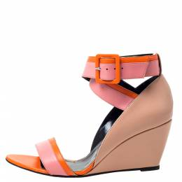 Pierre Hardy Tri Color Leather Ankle Strap Wedge Sandals Size 40 300347