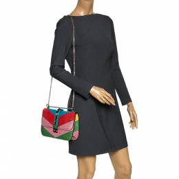 Valentino Multicolor Colorblock Crocodile Rockstud Glam Lock Shoulder Bag 300352