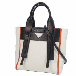 Prada White/Black Leather Small Ouverture Canvas Tote Bag 298840