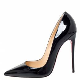 Christian Louboutin Black Patent Leather So Kate Pointed Toe Pumps Size 38.5 300332