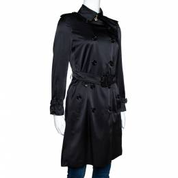 Burberry Black Silk Belted Kensington Trench Coat XS 300232