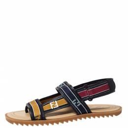 Fendi Multicolor Canvas Forever Strap Flat Sandals Size 44 300012