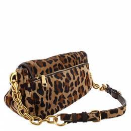 Prada Brown Leopard Print Fur Chain Shoulder Bag 298818