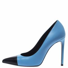 Saint Laurent Blue/Black Leather Cap Toe Pointed Toe Pumps Size 40 301306