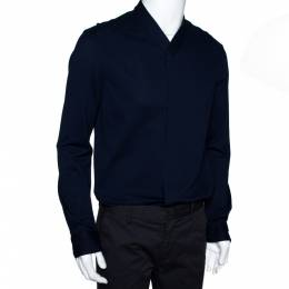 Armani Collezioni Navy Blue Cotton Long Sleeve Collarless Shirt L 300314