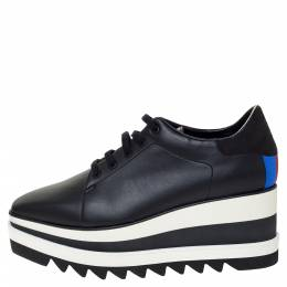 Stella McCartney Black Faux Leather Elyse Platform Lace Up Sneakers 40 301273