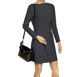 Longchamp Black/Khaki Leather and Suede Le Pliage Heritage Top Handle Bag 301271