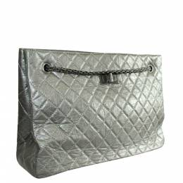 Chanel Grey Quited Leather Metallic Reissue Tote Bag 262414