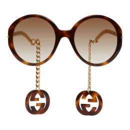 Gucci Tortoiseshell and Gold GG0726S Sunglasses