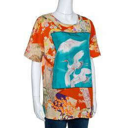 Gucci Orange & Teal Floral Bird Print T Shirt XL 301473