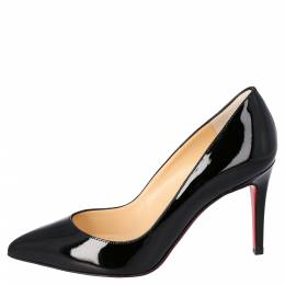 Christian Louboutin Black Patent Leather Pigalle Pointed Toe Pumps Size 35.5 301738