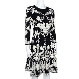 Alexander McQueen Monochrome Floral Jacquard Knit Skater Dress M 301438