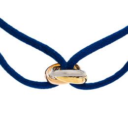 Cartier Trinity De Cartier Three Tone 18K Gold Blue Adjustable Cord Bracelet 301390