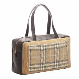 Burberry Black/Brown House Check Canvas Leather Shoulder Bag 300551