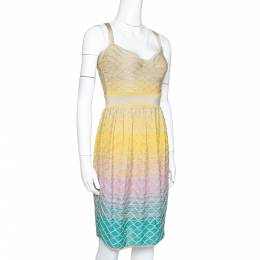 M Missoni Multicolor Ombre Textured Lurex Knit Sleeveless Dress S 301367