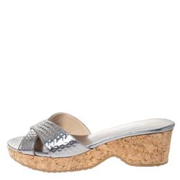 Jimmy Choo Metallic Silver Textured Leather Panna Cork Wedge Sandals Size 36 301622