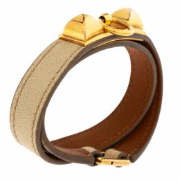Hermes Rivale Double Tour White Leather Gold Plated Bracelet 301635
