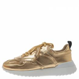 Tod's Metallic Gold Perforated Leather Tassel Lace Low Top Sneakers Size 39 301325