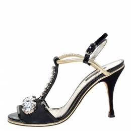 Dolce&Gabbana Black Patent Leather And Fabric Crystal Embellished Slingback Sandals Size 38 300308