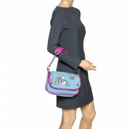 D&G Light Blue/Pink Tom and Jerry Print Canvas and Leather Flap Chain Shoulder Bag Dandg 301651