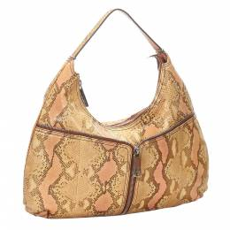 Fendi Beige/Pink Python Leather Shoulder Bag 299029