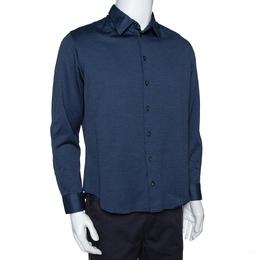 Armani Collezioni Navy Blue Cotton Knit Long Sleeve Shirt XL 301465