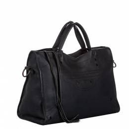 Balenciaga Black Leather Motocross Blackout City Satchel Bag 298807