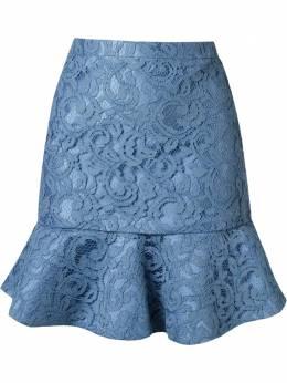 Martha Medeiros кружевная юбка 'marescot' с рюшами по подолу VE16SA21PRETO