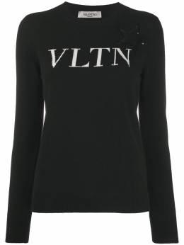 Valentino трикотажный джемпер с нашивкой и логотипом VLTN UB3KCB605NT