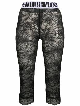 Versace Jeans Couture укороченные кружевные легинсы с логотипом ED5HZA162E04886